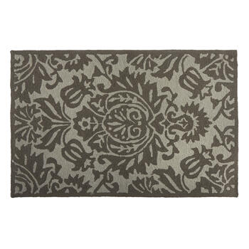 Gray Floral All-Weather Hand-Hooked Rug view 1
