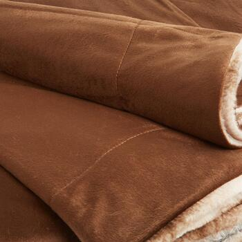 Vertical Brown Stripe Faux Fur Throw Blanket view 2 view 3