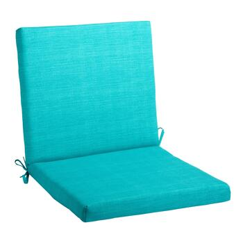 Solid Turquoise Indoor/Outdoor Mid-Back Chair Pad