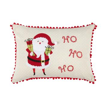 """Ho Ho Ho"" Santa Pom Pom Oblong Throw Pillow"