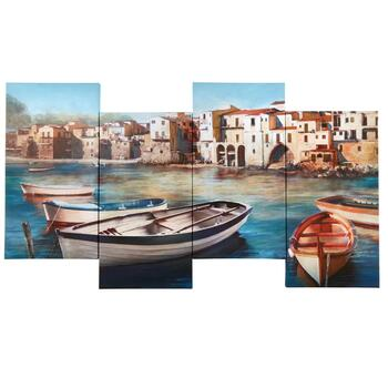 "18""x38"" Coastal Boats and Houses Canvas Wall Art"