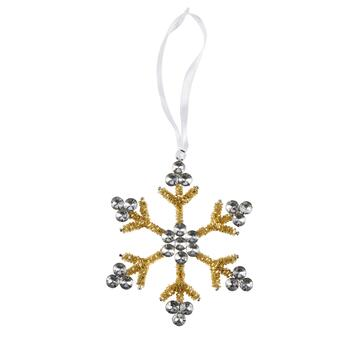Gold Tinsel Beaded Snowflake Ornaments, Set of 6