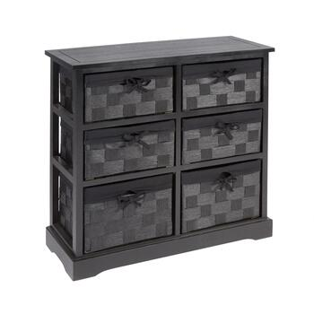 "29"" Sara Black 6-Basket Storage Cabinet"