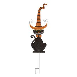 "46"" Tall Glitter Black Cat Yard Stake"