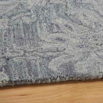 Blue Damask Handcrafted Wool Area Rug