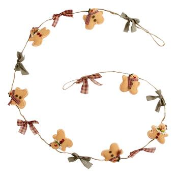 9' Plush Gingerbread Men and Bows String Garland