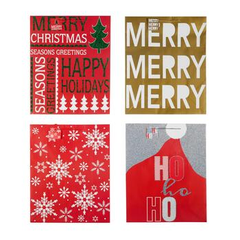 """Merry"" and ""Season's Greetings"" Deluxe Holiday Gift Bags, Set of 8"