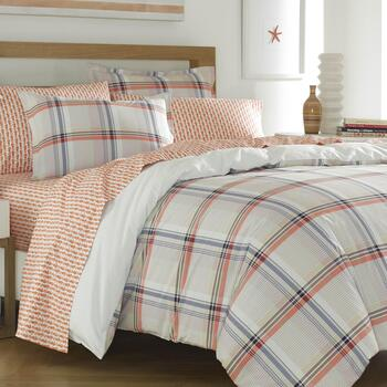Kamryn Pink/Blue Plaid Cotton Comforter Set