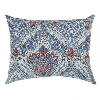 Paisley Blue Indoor/Outdoor Oblong Throw Pillow