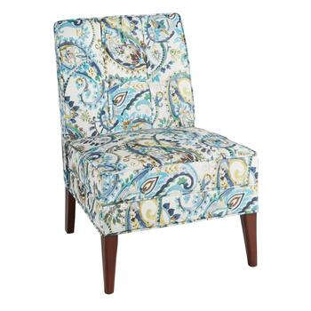 Paisley Upholstery Tufted Slipper Chair