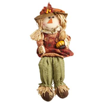 "23"" Scarecrow Girl with Pumpkin Ledge Sitter"