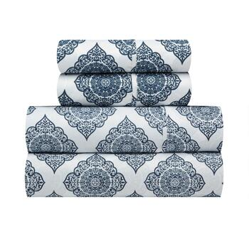 Richmond Navy Diamond Medallion Microfiber Sheet Set