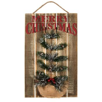 "20"" ""Merry Christmas"" Embellished Slatted Wooden Wall Decor"