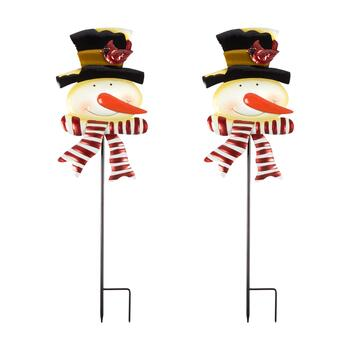 "36"" Snowman with Scarf Metal Yard Stakes, Set of 2"