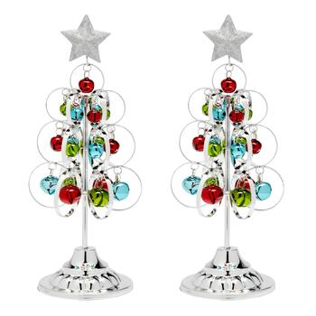 Silver Standing Metal Trees with Ornaments, Set of 2