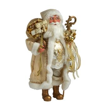 "16"" Cream/Gold Decorative Santa"