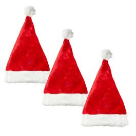 Santa Hats with White Fur Trim, Set of 3