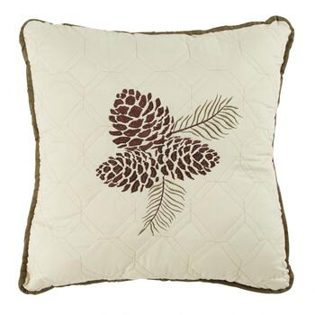 Pinecones Embroidered Square Throw Pillow