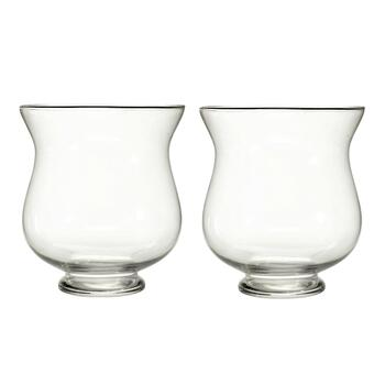 Small Bella Glass Hurricanes, Set of 2