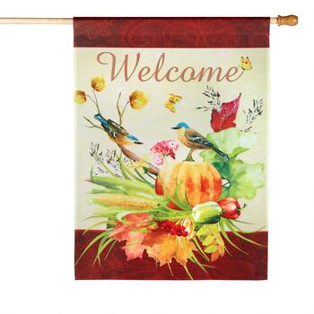 "28""x40"" ""Welcome"" Autumn Birds Yard Flag"
