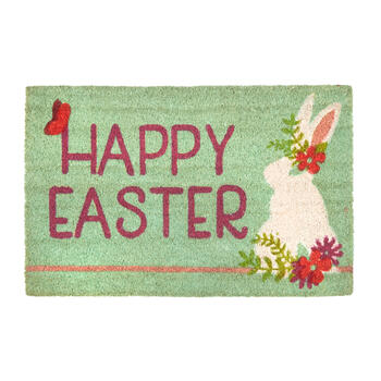 """Happy Easter"" Flower Bunny Coir Door Mat view 1"