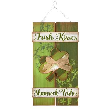 "16"" ""Irish Kisses"" Shamrock Wall Hanger"