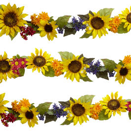 6' Yellow Sunflowers and Colorful Daisies Artificial Garland view 1