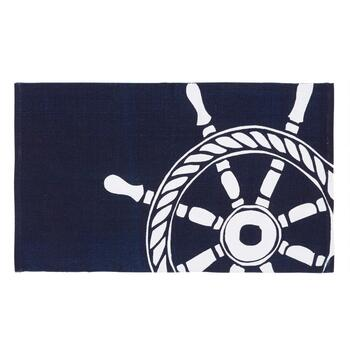 "27""x45"" Blue Ship's Wheel Chindi Accent Rug"