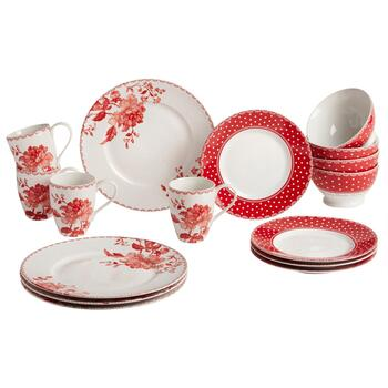 Red Dots and Flowers Dinnerware Set, 16-Piece