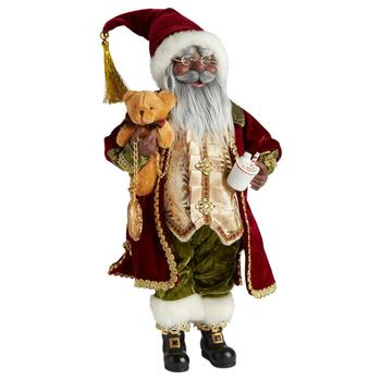 "16"" African American Santa Holding Hot Chocolate Figure"