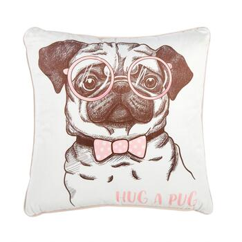 """Hug A Pug"" Square Throw Pillow"
