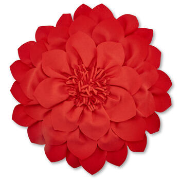 Red Round Flower 3D Throw Pillow view 1