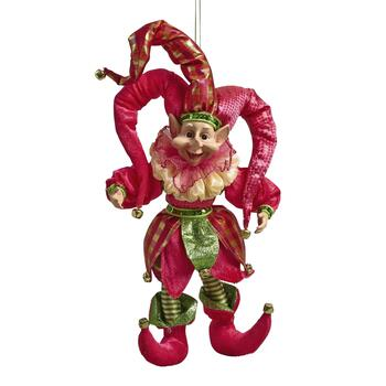 Pink Jester Elf Ornament