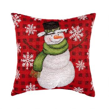 "16"" Snowman Tapestry Square Throw Pillow"