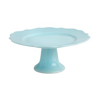 Light Blue Large Scalloped Footed Cake Stand
