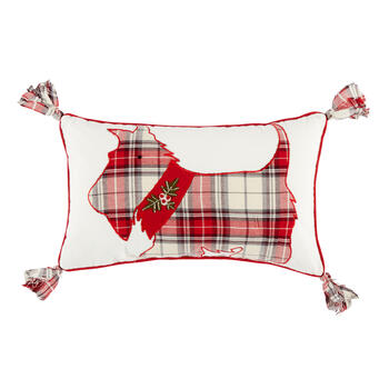 Plaid Scottie Embellished Oblong Throw Pillow with Tassels view 1