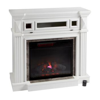 White Electronic Fireplace Heater and Mantel