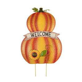 "24.5"" ""Welcome"" Stacked Pumpkins Yard Stake"