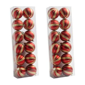 80mm Gold Stripes Shatterproof Ball Ornaments, Set of 24 view 1