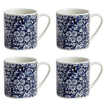 Blue Calico Ceramic Mugs, Set of 4