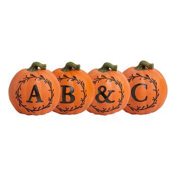 8 Orange Monogram Pumpkin Decor