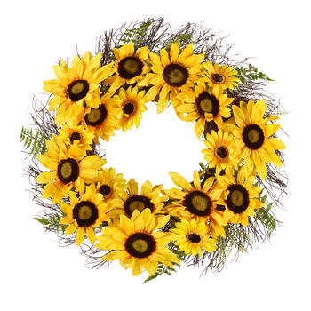 "22"" Yellow Sunflower Fern Artificial Wreath view 1"