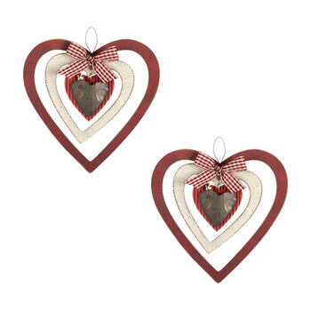 Hanging Wood Heart Spinners, Set of 2 view 1