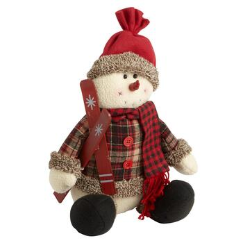 "15"" Red Plaid Snowman Sitter"