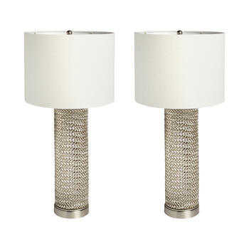 "25.75"" Basketweave Glass Table Lamps, Set of 2 view 1"