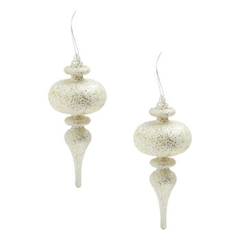 Silver Glitter Finial Ornaments, Set of 2 view 1
