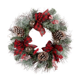 "22"" Bows and Bells Snowy Pinecone Wreath view 1"