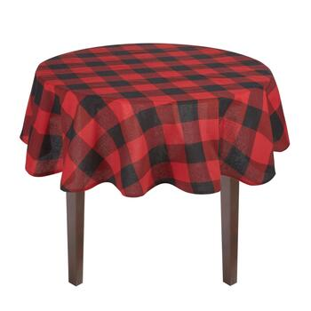 Red/Black Checkered Cotton Jacquard Tablecloth view 2