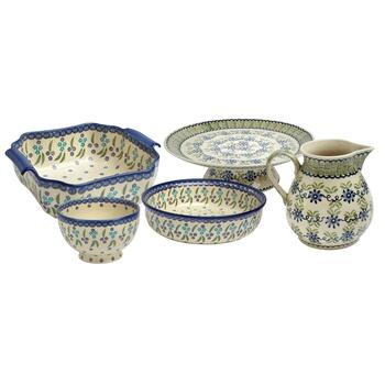 Polish Pottery Floral Fern Handmade Serveware Collection