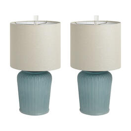 "21"" Textured Sea Glass Coastal Table Lamps, Set of 2 view 1"
